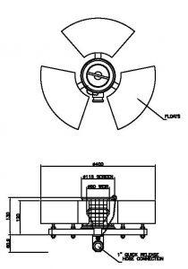 316 SS 1 inch Mini-Skimmer Dimensions